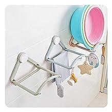 HaloVa Washbasin Storage Rack, Automatic Springback Washbasin Hanging Holder, Strong Suction Cup Bathroom Basin Towel Shelf Hanger Hooks for Kitchen Toilet, Blue