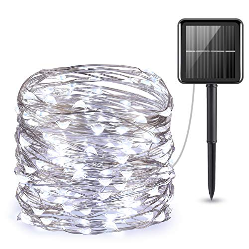 AMIR (Upgraded Version) Solar Powered String Lights, 100 LED Copper Wire Lights, Starry String Lights, Indoor/Outdoor Waterproof Solar Decoration Lights for Gardens, Home, Dancing, Party (White)