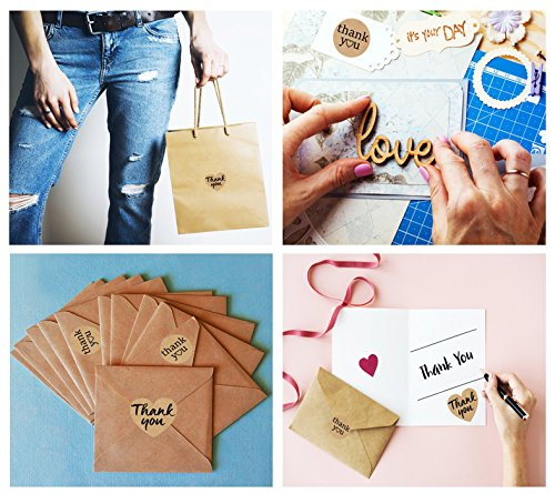 Kraft Paper Thank You Stickers Complete Bundle: 1000 pcs 1.58'' Big Heart Shape & 1.2'' Round Adhesive Labels | 2x500 per Roll Photo #4