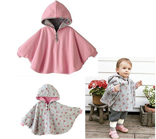 Lovage Infant Girls Poncho Coat Double Side Wear Fleece Hoodie Outwear