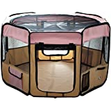 "ESK Collection 45"" Pet Puppy Dog Playpen Exercise Pen Kennel 600d Oxford Cloth Pink"