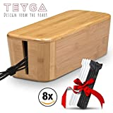 Bamboo Cable Management Box - Stylish Cord Organizer Box Hides Power Strip and Keeps Cords Untangled - Surge Protector Cover Keeps Children Safe - Eco-Friendly TV Cord Box for Home and Office by TEYGA