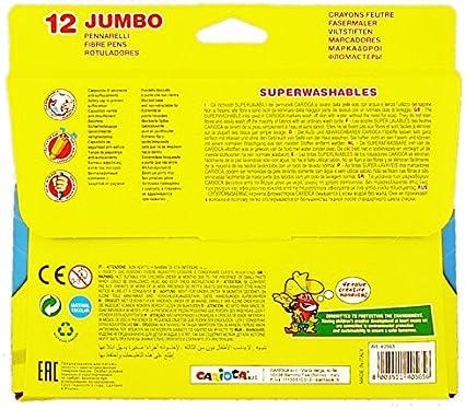 Carioca - Bolsa de cartón con 12 rotuladores de colores Jumbo (40565): Amazon.es: Oficina y papelería