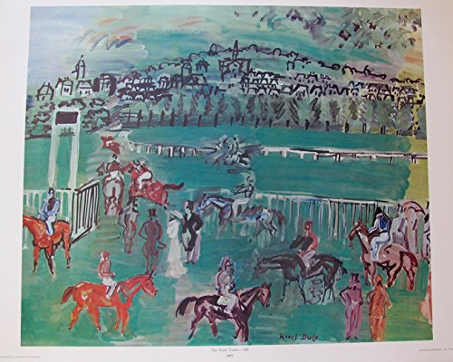 (Artwork by Raoul Dufy Race Track 1928 Lithograph Print. After the Original Painting or Drawing. Signed In The Plate Paper 22.5 Inches X 28 Inches.)