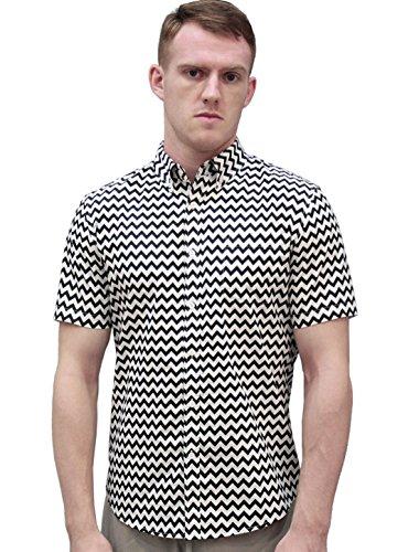 (uxcell Men Zig Zag Print Stripe Short Sleeve Lapel Collar Button Up Shirt with Pocket Black White L (US 44) )