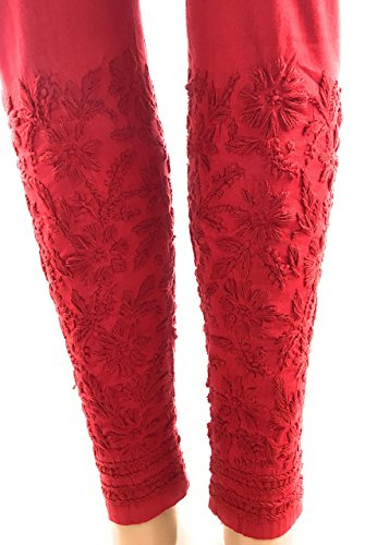 Nyara Handicraft Chikankari Stretchable Cotton Leggings,Ankle Length Narrow Pants,Hand Embroidered/One Size Fits Most (Red)