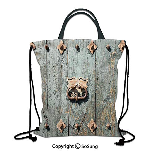 (Rustic 3D Print Drawstring Bag String Backpack,European Cathedral with Rusty Old Door Knocker Gothic Medieval Times Spanish Style Decorative,for Travel Gym School Beach Shopping,Turquoise)