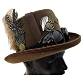 Storm Buy ] Steampunk Style Metallic Top Hat Scientist Time Traveler Feather Halloween Costume Cosplay Party with Goggles (Brown)