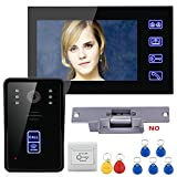 MAOTEWANG 7'' TFT LCD RFID Video Door Phone Intercom Doorbell Home Security System Touch Button Night Vision +Electric Strike lock
