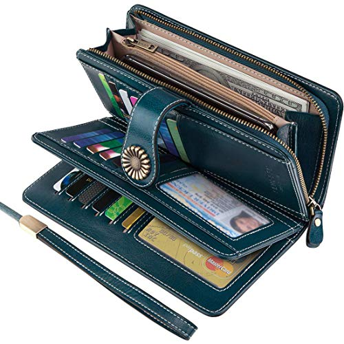 KELEEL Women's RFID Blocking Wallet Genuine Leather Clutch Wallet Card Holder Organizer Ladies Purse (Blue) ()