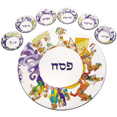 Passover Seder Plate Set - Yair Emanuel HAND PAINTED GLASS PASSOVER SEDER PLATE THE EXODUS FROM EGYPT (Bundle)