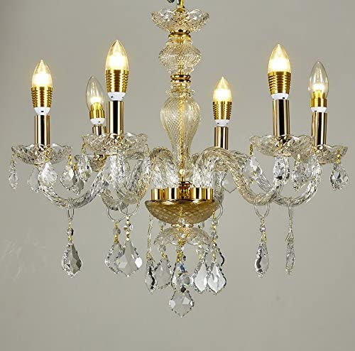 New Legend Lighting 6-Light Classic Style Gold Finish Crystal Chandelier Pendant Hanging Ceiling Lighting, 22 Wide