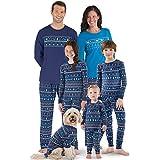 PajamaGram Family Holiday Pajamas Cotton - Peace On Earth, Navy, Pets, SM