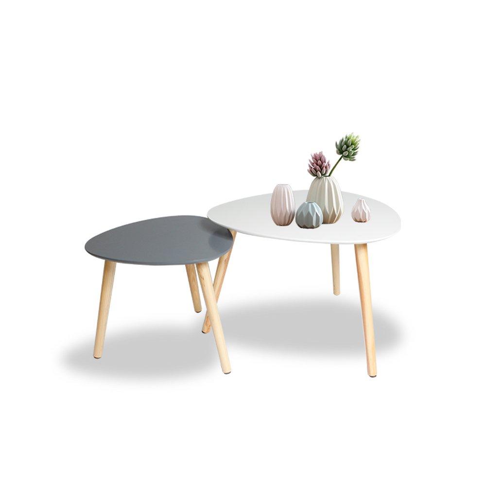 Happy Home Products Tavolino da caffè set di 2 tavolini finitura bianco e grigio con gambe in legno per soggiorno balcone ufficio (Set di 2-bianco e grigio)
