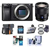 Sony Alpha a6300 Mirrorless Digital Camera With Sony Vario-Tessar T 16-70mm F4 ZA OSS Lens - Bundle with 16GB SDHC Card, Holster Case, Cleaning Kit, Memory Wallet, 55mm Filter Kit, Software Package
