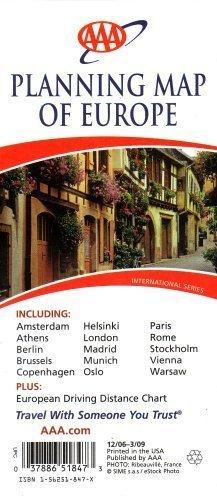 AAA Planning Map of Europe: Including Amsterdam, Athens, Berlin, Brussels, Copenhagen, Helsinki, London, Madrid, Munich, Oslo, Paris, Rome, Stockholm, Vienna, Warsaw: Plus European Driving Distance Chart: International Series 2007 (03788651847, (2007 International Series)