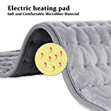 "Dekugaa Heating Pad, Electric Heating Pad for Moist & Dry Heat, 6 Electric Temperature Options, 4 Temperature Settings-Auto Shut Off -King Size 12"" x 24""-Hot Heated Pad"