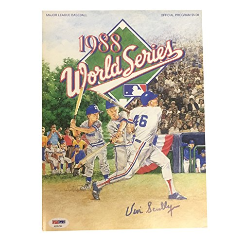 Vin Scully Autographed Dodgers 1988 World Series Signed Program Magazine PSA DNA COA 2 (Program Magazine Autographed)