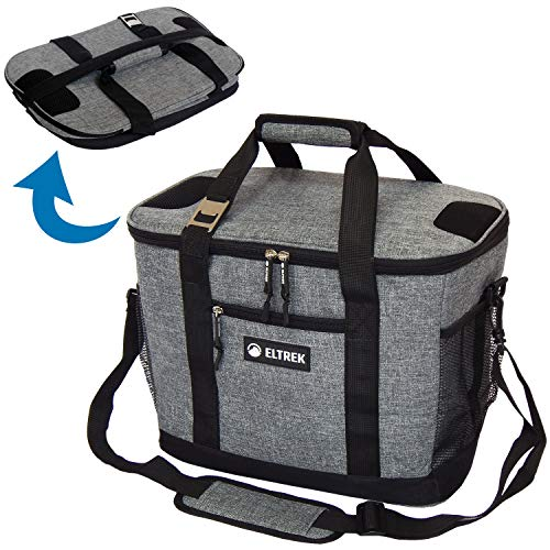 Eltrek Soft Sided Collapsible Cooler, Insulated Cooler Tote Bag with Pockets and Adjustable Shoulder Strap (Gray, 30-Can)