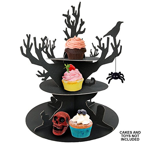 ASAB 3 Tier Halloween Cupcake Stand Gothic Black Spooky Silhouette Trick Or Treat Party Platter Food Display Centrepiece