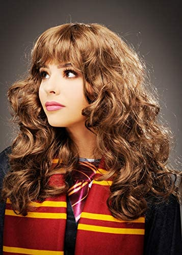 Magic Box Peluca rizada marrón Estilo Hermione Granger con Flecos ...