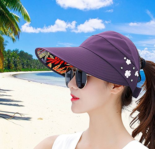 ae20a9a4ca4 HindaWi Sun Hats for Women Wide Brim UV Protection Sun Hat Visor Floppy  Packable Adjustable Cap
