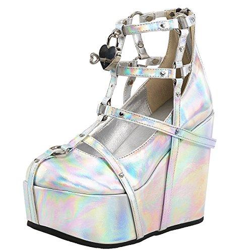 Plateau Gothic Heels, Damen, Silber (Silber) Silber (Silber)