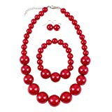 Shineland Simple Large Big Simulated Pearl Statement Necklace Bracelet and Earrings Jewelry Set