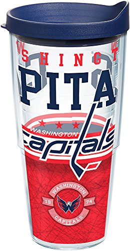 Tervis 1165409 NHL Washington Capitals Core Tumbler with Wrap and Navy Lid 24oz, Clear