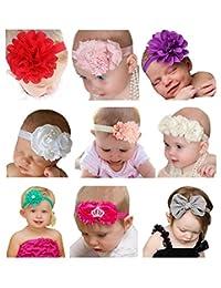 Qandsweet Baby Girl's Beautiful Headbands (Set of 9)