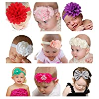 Qandsweet Baby Girl's Beautiful Headbands with Flower Mix 9 Models for Photog...