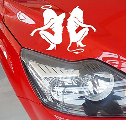 1-Set Worthy Popular Angel and Devil Car Stickers Vehicle Windows Fashionable Vinyl Decal Color (Gibson Decal Set)