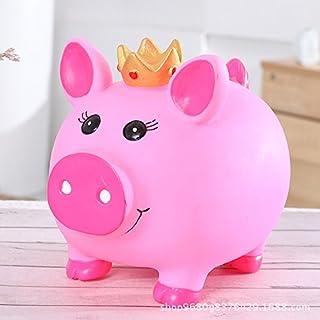 Süß und lustig Kreative Cartoon große Anti-Drop-Sparschwein Vinyl-Krone Schwein Sparschwein (Pink)