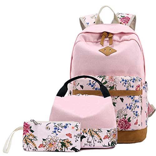 Wenbackied 3Pcs/Set Canvas Backpack Women Flower Print Schoolbag Teenagers Girl Student Book Bag Boys Satchel CC020 Pink