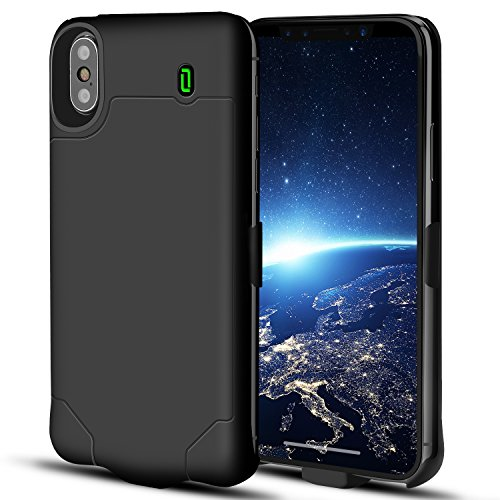 iPhone X Battery Case Support Lightning Wired Headphones, OSSKY 4000mAh Slim Rechargeable Charging Case Portable External Charger Power Case for iPhone X /10 Extended Battery Pack - Black (5.8 inch)