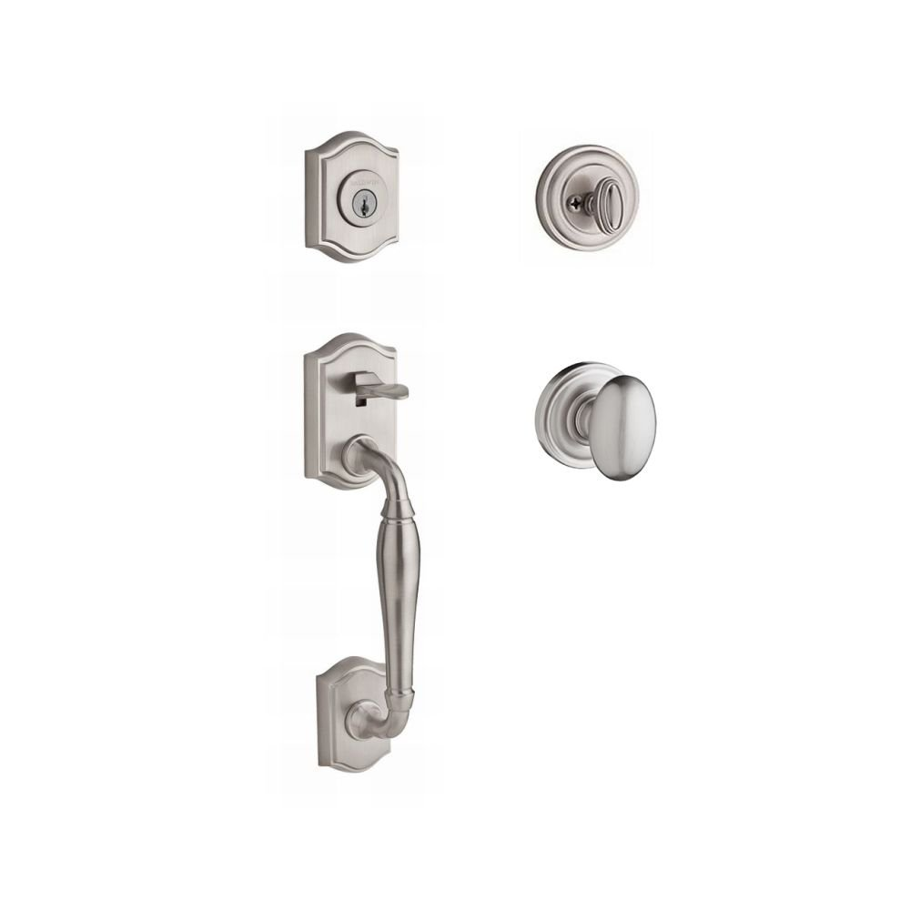 Satin Nickel 9BR1800-025 Baldwin SC.NEWxDEC.L.TAR.150.6L.DS.CKY.KD New Hampshire Single Cylinder Handleset with Left-Handed Decorative Lever and Traditional Arch Rose