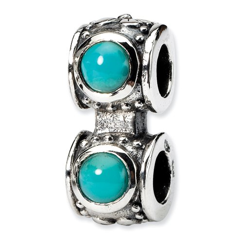Sterling Silver Turquoise CZ Connector (Barrell Connector)