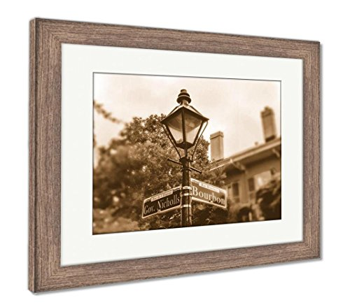 Ashley Framed Prints Bourbon Street New Orleans Ancient Street Lamp and Pointer, Wall Art Home Decoration, Sepia, 26x30 (Frame Size), Rustic Barn Wood Frame, ()