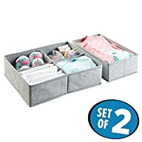 mDesign Fabric Baby Nursery Closet Organizer for Clothes, Towels, Socks, Shoe...