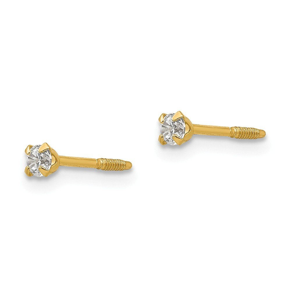 14K Yellow Gold Madi K Childrens 2.25 MM CZ Screw Back Stud Earrings
