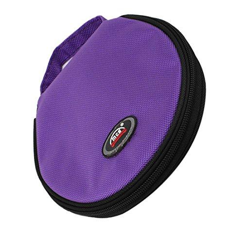 ZYHW Round Design 20 Disc Purple Oxford Fabric CD DVD Holder Storage Case