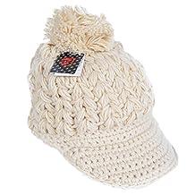 Women Pompom Beanie Winter Knitted Visor Cap (Beige)