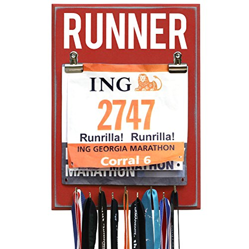 Medal and Bib Display RUNNER - Red - 9 Hooks (Medal Runner Display Bib)