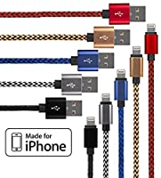 Lightning Cable for iPhone - 5 Pack Braided (3.3 Feet) in Red, Blue, White, Gold & Black - Cable w/ Lightning Connector - Lightning to USB cable / Cord Compatible with iPhone 6 & 5 by Kable King