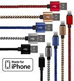 Lightning Cable for iPhone - 5 Pack Braided (3.3 Feet) in Red, Blue, White, Gold & Black - Cable w/ Lightning Connector - Lightning to USB cable / Cord Compatible with iPhone 6 & 5