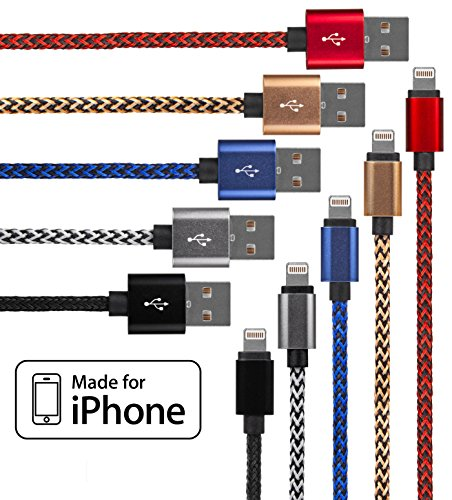Lightning Cable for iPhone - 5 Pack Braided  in Red, Blue, W