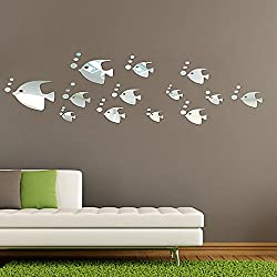 DIY - Do It Yourself New Wall Mirror Stickers, Fish and Water Bubbles, Made of Acrylic Material Like Mirror, Modern Design for Home Living Room Bedroom Kitchen Baby Child Novelty Luxury Crystal Wall Silent Watch Extra Large Clocks, Silver