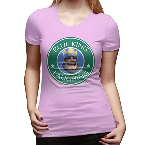 SAXON13 Women's Blue King Laughing Cool Tshirts Pink Size XXL