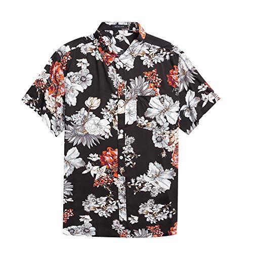Men's Hawaiian Short Sleeve Shirt- MCEDAR Aloha Flower Print Casual Button Down Standard Fit Beach Shirts (Medium, BLACK 47996)