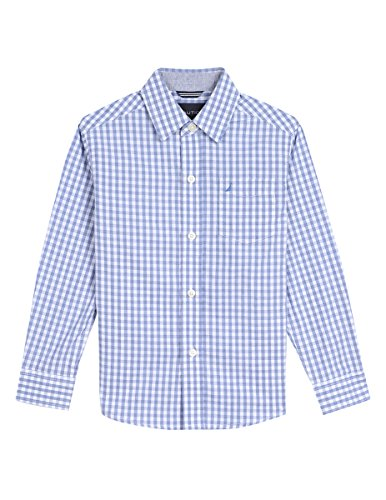 Lapis Blue Check - Nautica Boys' Big Long Sleeve Gingham Woven Shirt, Rios Lapis Blue, X-Large (18/20)